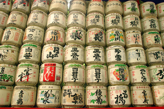 Sake casks near Meji jingu Shrine.
