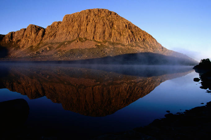 King David's peak reflected in Lake Salome.