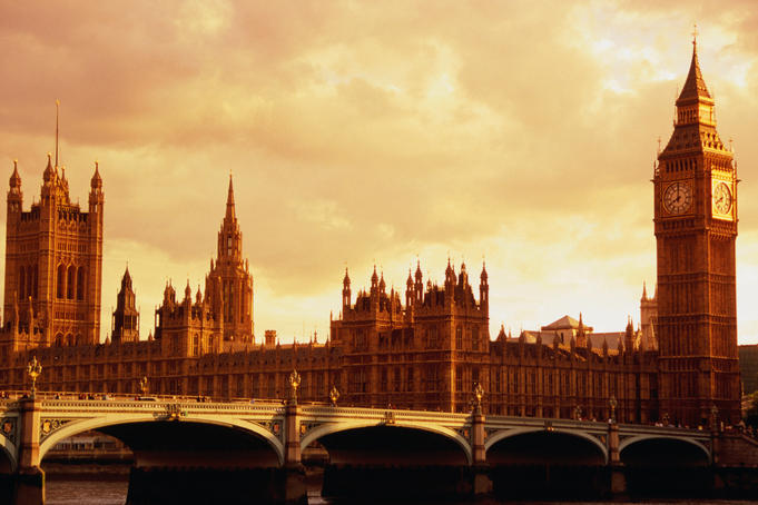 Evening light on Westminster Bridge, Houses of Parliament and Big Ben.