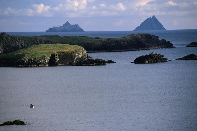 Fishing boat in front of the Skellig Islands.