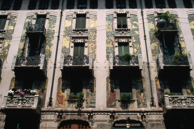 Art Nouveau facade at Via Malpighi.
