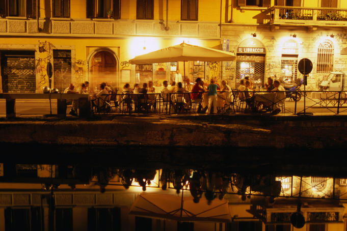 Restaurant along canal Naviglio Grande.