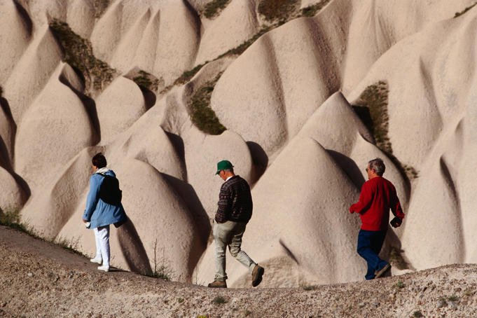 Walking amid fairy chimneys near Goreme.