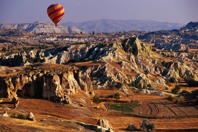 Landscape of Cappadocia seen from hot-air balloon.