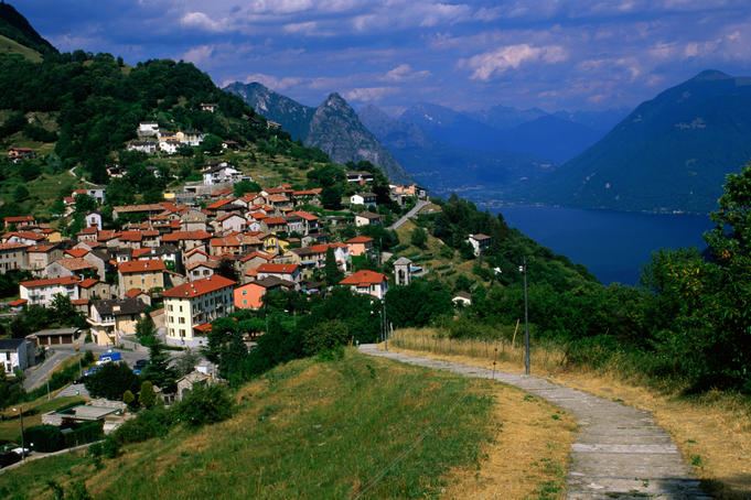 Overhead of Bre village and Lago di Lugano.