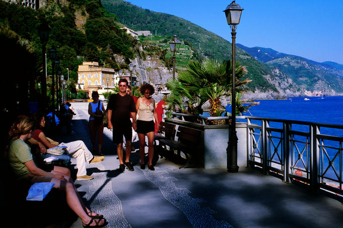 Seaside path of town in Cinque Terre region.
