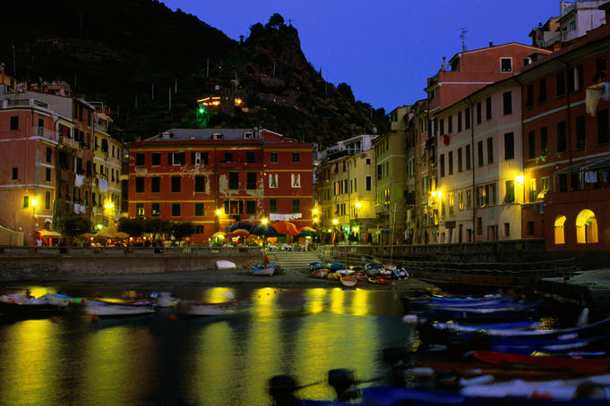 Waterfront at dusk in Cinque Terre region.