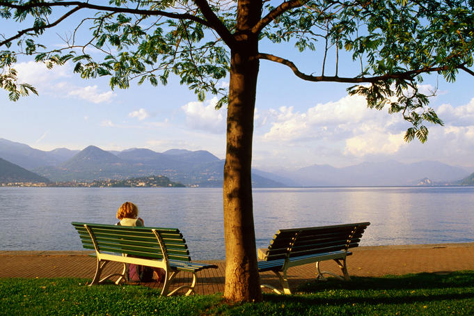 Benches at Lakeside Gardens on Lake Maggiore.