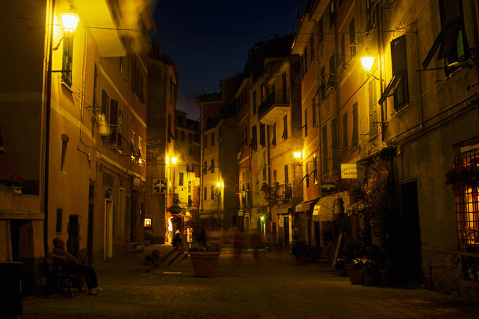 Lit street in historic town