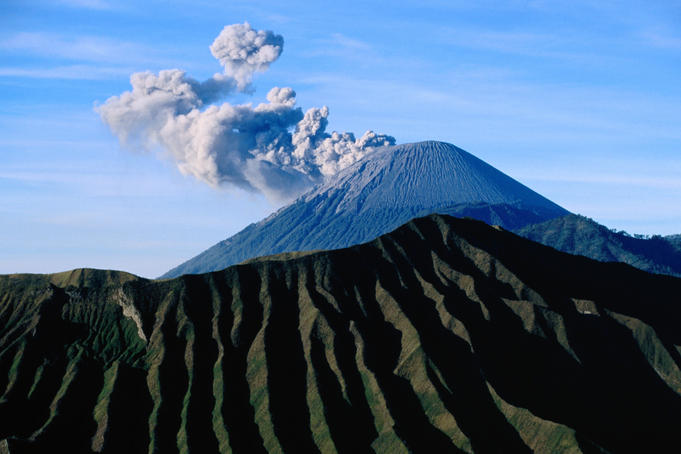 Steaming cone of Gunung Semeru.