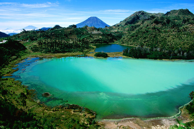 Overhead of colourful crater lake, Dieng Plateau.