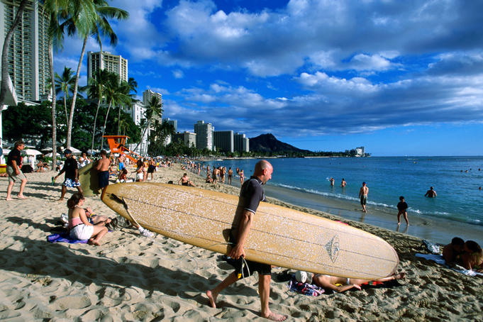 Surfer on Waikiki Beach.