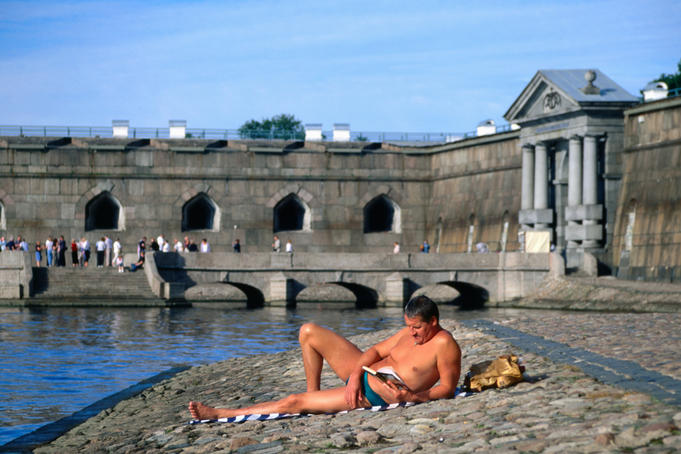 Sunbather at Peter and Paul Fortress.