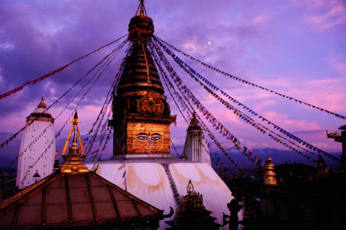 Swayambhunath stupa at sunset.