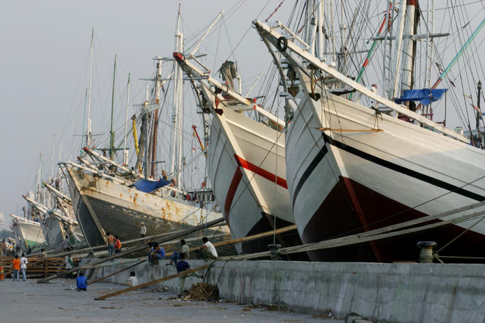 Wooden boats at the old port of Sunda Kelapa.