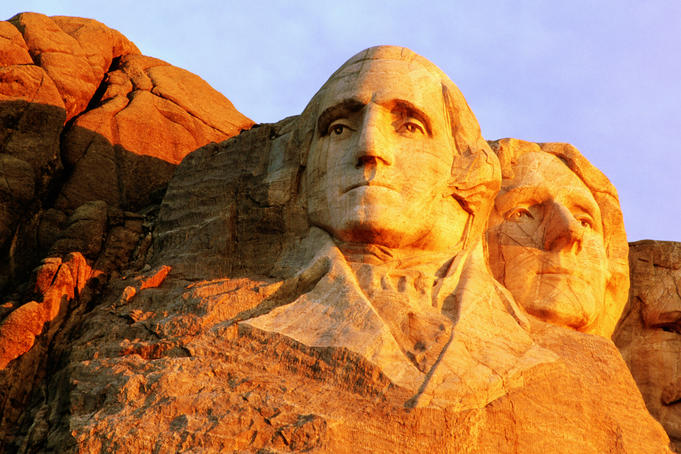 Carving of Washington and Jefferson at Mount Rushmroe National Park.