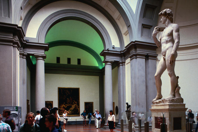 Michelangelo's statue of David in the Galleria dell'Accademia.