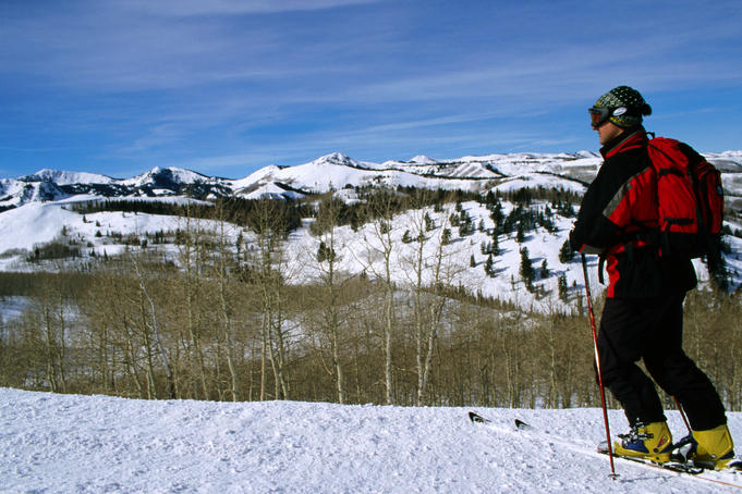 Man cross-country skiing, Deer Valley.