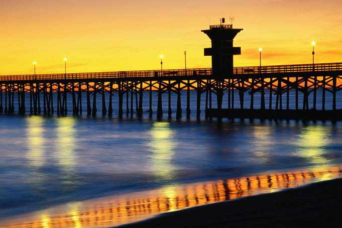 Seal Beach Pier at sunset.