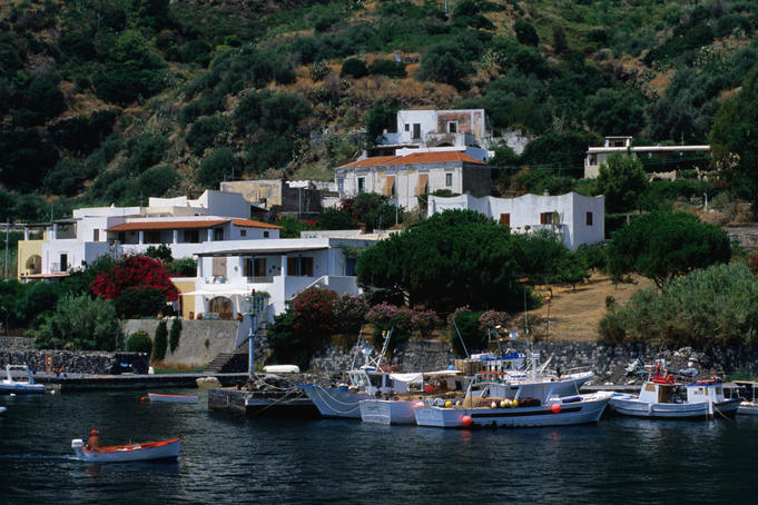 Waterfront houses of village.