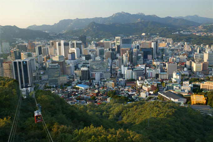 Overhead of Seoul with Namsam Cable Car in foreground.