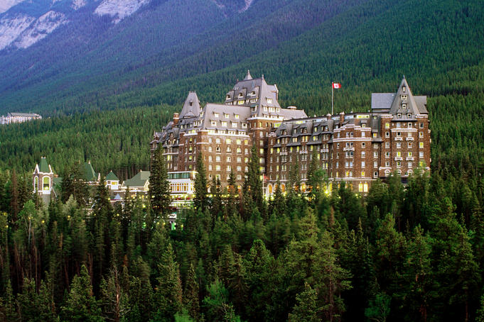 Banff Springs Hotel, dusk.