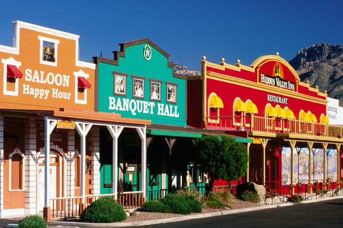 Colourful western-style facade near Sabino Canyon.