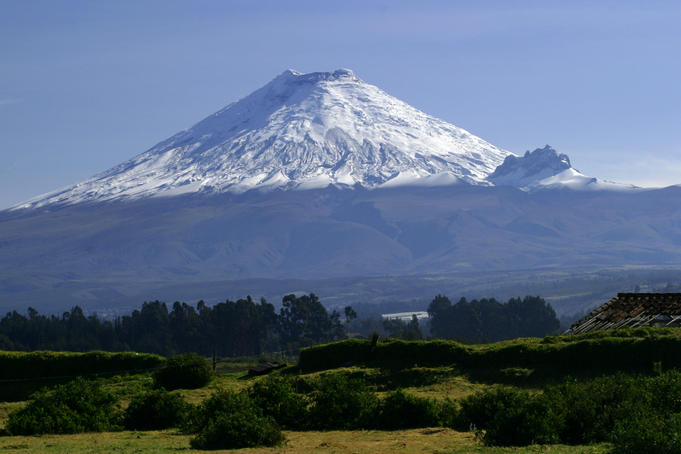Snow covered Cotopaxi mountain.