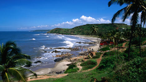 Coastline of Anjuna, Goa