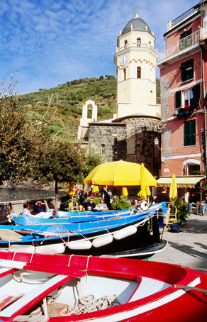 Fishing boats stored in town square, Cinque Terre.