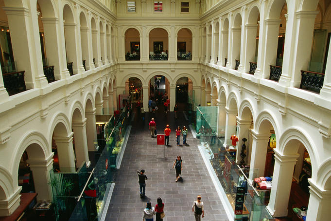 Former Melbourne GPO (General Post Office) Building, now a fashionable shopping centre.