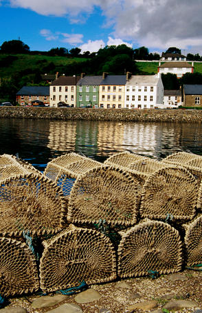 Lobster pots on dock.