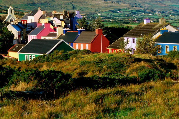 Colourful village houses.