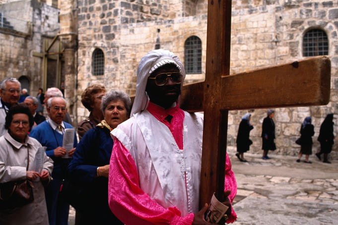 Christian pilgrims in Easter procession.
