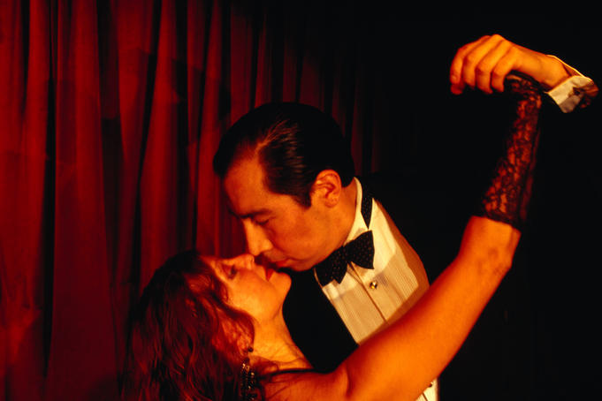 Couple in tango show at Cafe Tortoni, Av de Mayo 829.