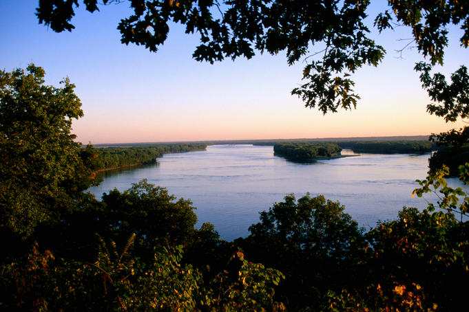 Mississippi River at dawn.