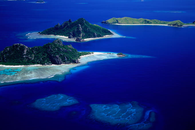 Aerial view of islands.