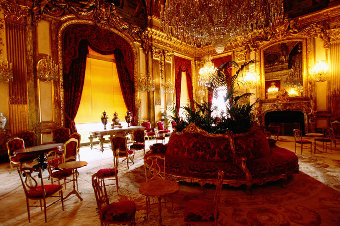 Musee du Louvres gallery exhibits, Napoleon III apartment.