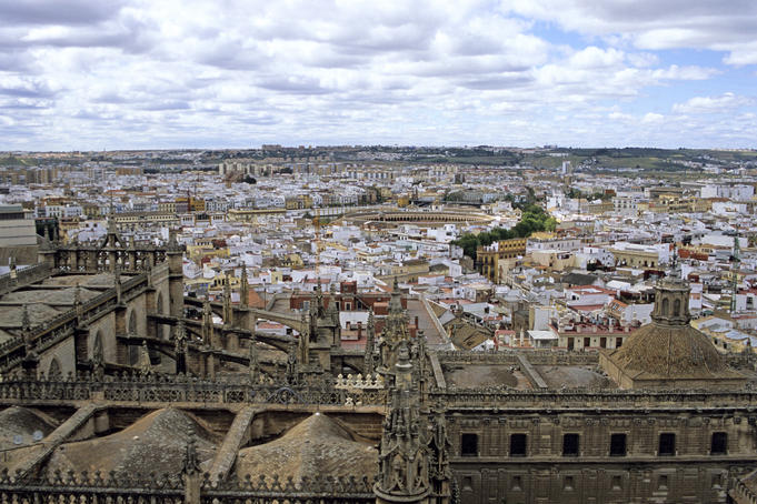 City buildings and Plaza de Toros from Giralda.