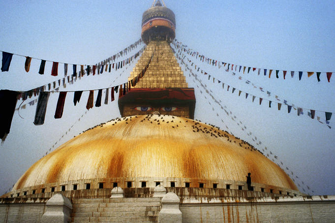 Bodhnath Stupa in mist on winter morning.