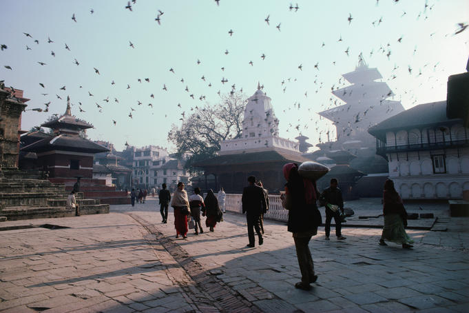 People walking in Durbar Square.