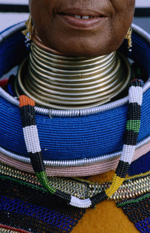 Detail of traditional Ndebel costume, Emthombothini village.