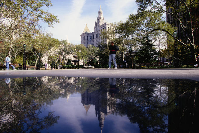 View of City Hall over a pond - New York City, New York