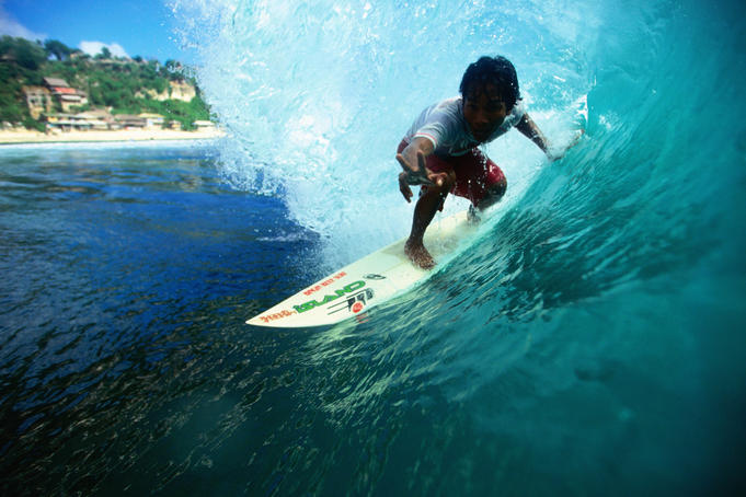 Local surfer in the tube, Bukit Peninsula.