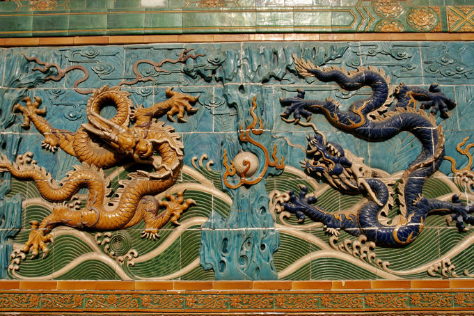 Detail of two glazed tile dragon on Nine-Dragon Screens, Beihai Park.