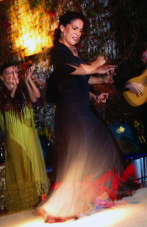 Woman performing flamenco dance.