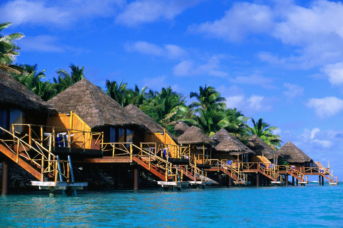 Part of Aitutaki Lagoon Resort and Spa on motu (lagoon islet) of Akitua, at eastern end of island of Aitutaki.