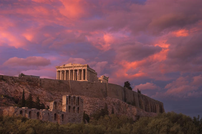 Parthenon at sunset.