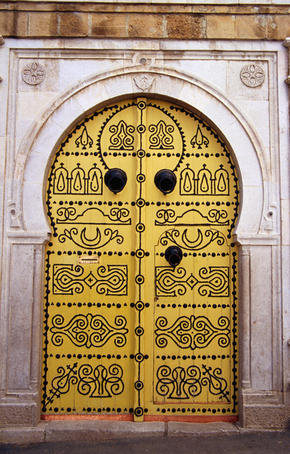 Traditional door in Medina (walled old city).