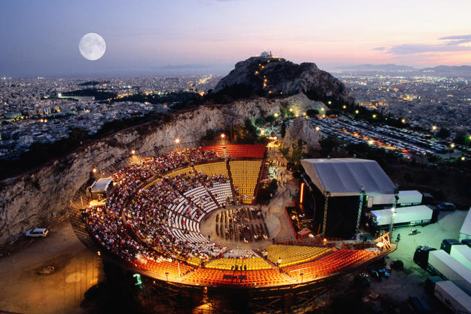 Overhead of open-air theatre of Lykavittos hill, each summer hosts musical, theatrical performances in evenings.
